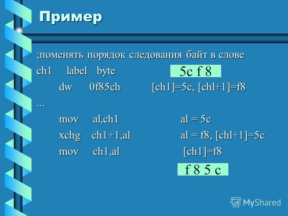Пример ;поменять порядок следования байт в слове ch1 label byte dw 0f85ch[ch1]=5c, [chl+1]=f8 dw 0f85ch[ch1]=5c, [chl+1]=f8... mov al,ch1al = 5c mov al,ch1al = 5c xchg ch1+1,alal = f8, [chl+1]=5c xchg ch1+1,alal = f8, [chl+1]=5c mov ch1,al [ch1]=f8 m