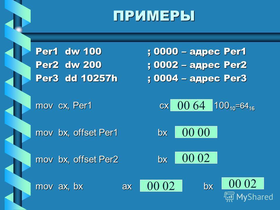 ПРИМЕРЫ Per1 dw 100; 0000 – адрес Per1 Per2 dw 200; 0002 – адрес Per2 Per3 dd 10257h; 0004 – адрес Per3 mov cx, Per1 cx 100 10 =64 16 mov bx, offset Per1 bx mov bx, offset Per2 bx mov ax, bx ax bx 00 64 00 00 02