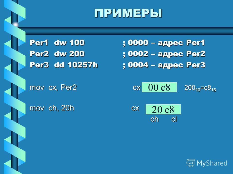 ПРИМЕРЫ Per1 dw 100; 0000 – адрес Per1 Per2 dw 200; 0002 – адрес Per2 Per3 dd 10257h; 0004 – адрес Per3 mov cx, Per2 cx 200 10 =c8 16 mov ch, 20h cx ch cl ch cl 00 c8 20 c8