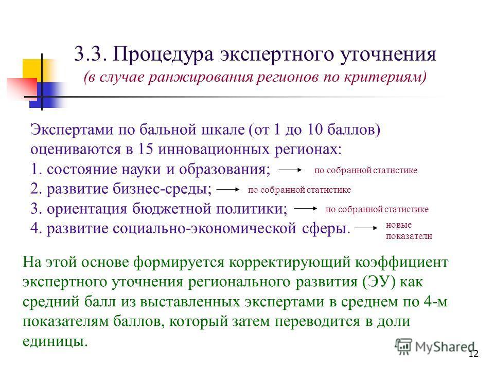 12 3.3. Процедура экспертного уточнения (в случае ранжирования регионов по критериям) Экспертами по бальной шкале (от 1 до 10 баллов) оцениваются в 15 инновационных регионах: 1. состояние науки и образования; 2. развитие бизнес-среды; 3. ориентация б