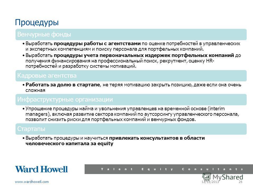 www.wardhowell.com Процедуры 12/12/2013 26 Венчурные фонды Выработать процедуры работы с агентствами по оценке потребностей в управленческих и экспертных компетенциям и поиску персонала для портфельных компаний. Выработать процедуры учета первоначаль