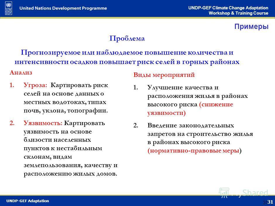 UNDP-GEF Adaptation 30 UNDP-GEF Climate Change Adaptation Workshop & Training Course 30 Картирование рисков Карта распределения угроз Карта распределения уязвимости Риск = угроза х уязвимость Приоритизировать по уровню риска районы /поселения для пла