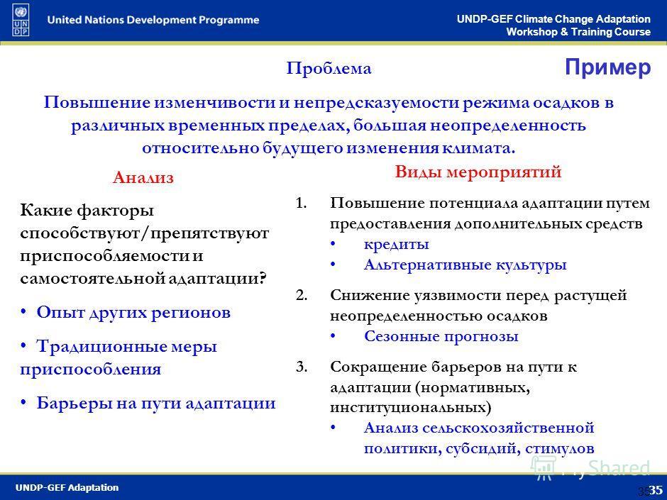 UNDP-GEF Adaptation 34 UNDP-GEF Climate Change Adaptation Workshop & Training Course 34 3. Повышение потенциала адаптации Когда применять подход Когда существуют серьезные барьеры адаптации Когда информация о будущих угрозах неточная или противоречив