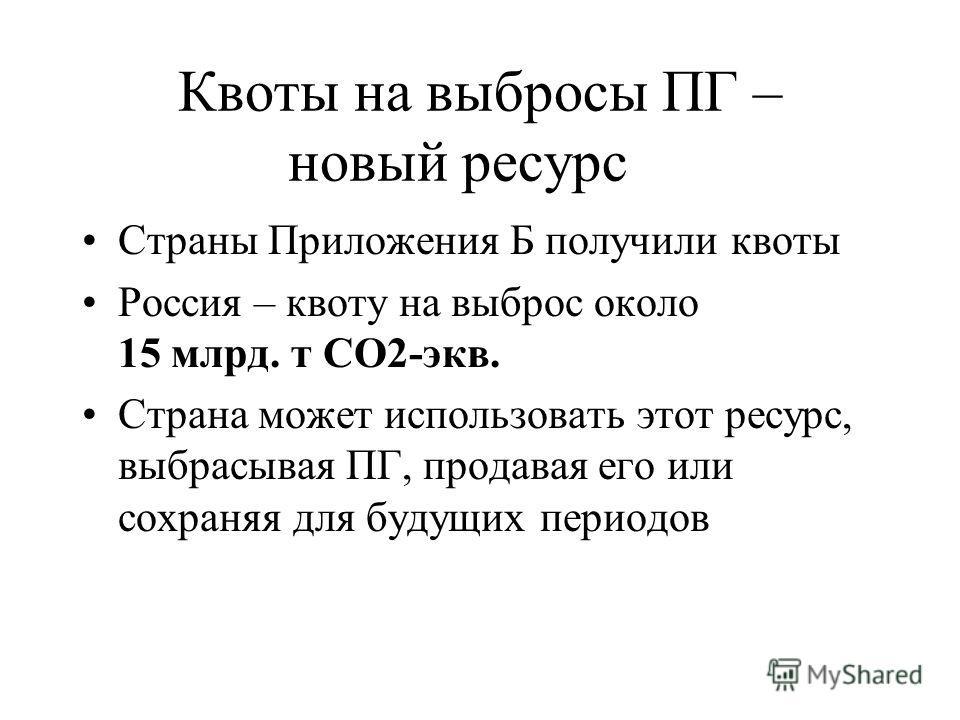 Квоты на выбросы ПГ – новый ресурс Страны Приложения Б получили квоты Россия – квоту на выброс около 15 млрд. т СО2-экв. Страна может использовать этот ресурс, выбрасывая ПГ, продавая его или сохраняя для будущих периодов