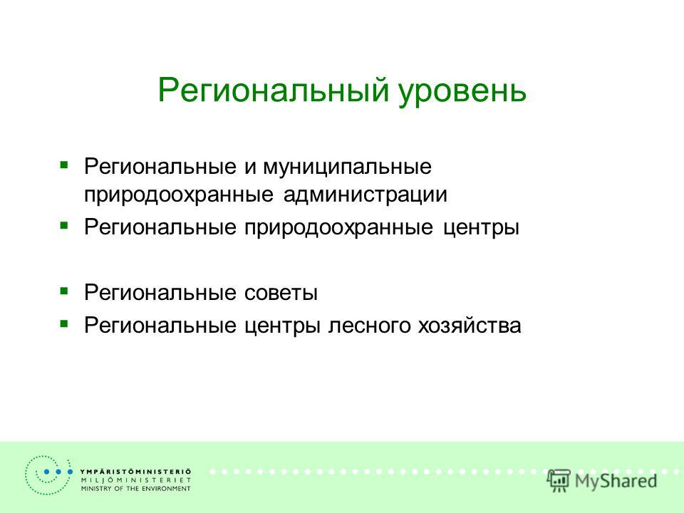 Региональный уровень Региональные и муниципальные природоохранные администрации Региональные природоохранные центры Региональные советы Региональные центры лесного хозяйства
