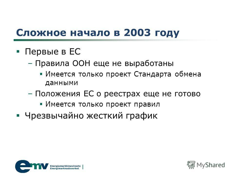 Сложное начало в 2003 году Первые в ЕС –Правила ООН еще не выработаны Имеется только проект Стандарта обмена данными –Положения ЕС о реестрах еще не готово Имеется только проект правил Чрезвычайно жесткий график