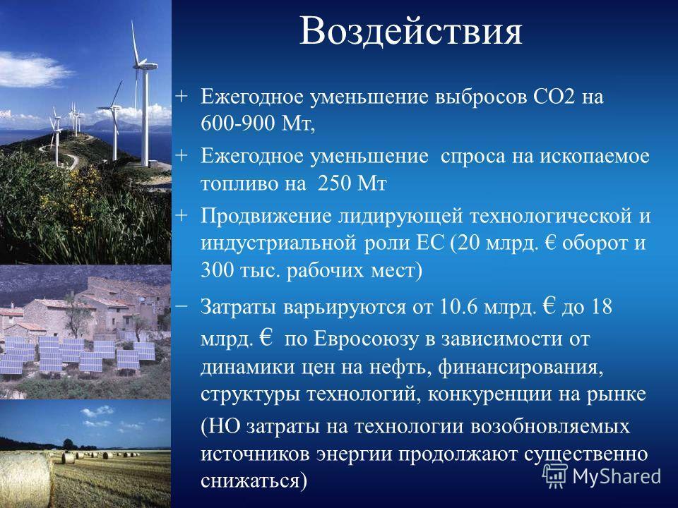 Воздействия +Ежегодное уменьшение выбросов CO2 на 600-900 Mт, +Ежегодное уменьшение спроса на ископаемое топливо на 250 Mт +Продвижение лидирующей технологической и индустриальной роли ЕС (20 млрд. оборот и 300 тыс. рабочих мест) Затраты варьируются