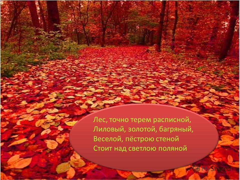 Лес, точно терем расписной, Лиловый, золотой, багряный, Веселой, пёстрою стеной Стоит над светлою поляной Лес, точно терем расписной, Лиловый, золотой, багряный, Веселой, пёстрою стеной Стоит над светлою поляной