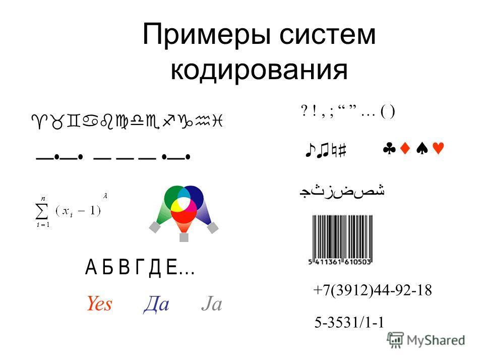 Примеры систем кодирования А Б В Г Д Е… Yes Да Ja ? !, ; … ( ) +7(3912)44-92-18 5-3531/1-1