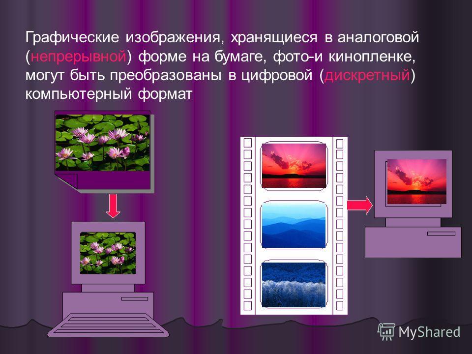Графические изображения, хранящиеся в аналоговой (непрерывной) форме на бумаге, фото-и кинопленке, могут быть преобразованы в цифровой (дискретный) компьютерный формат