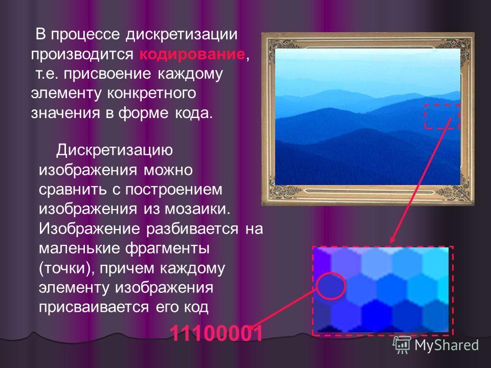 Дискретизацию изображения можно сравнить с построением изображения из мозаики. Изображение разбивается на маленькие фрагменты (точки), причем каждому элементу изображения присваивается его код 11100001 В процессе дискретизации производится кодировани