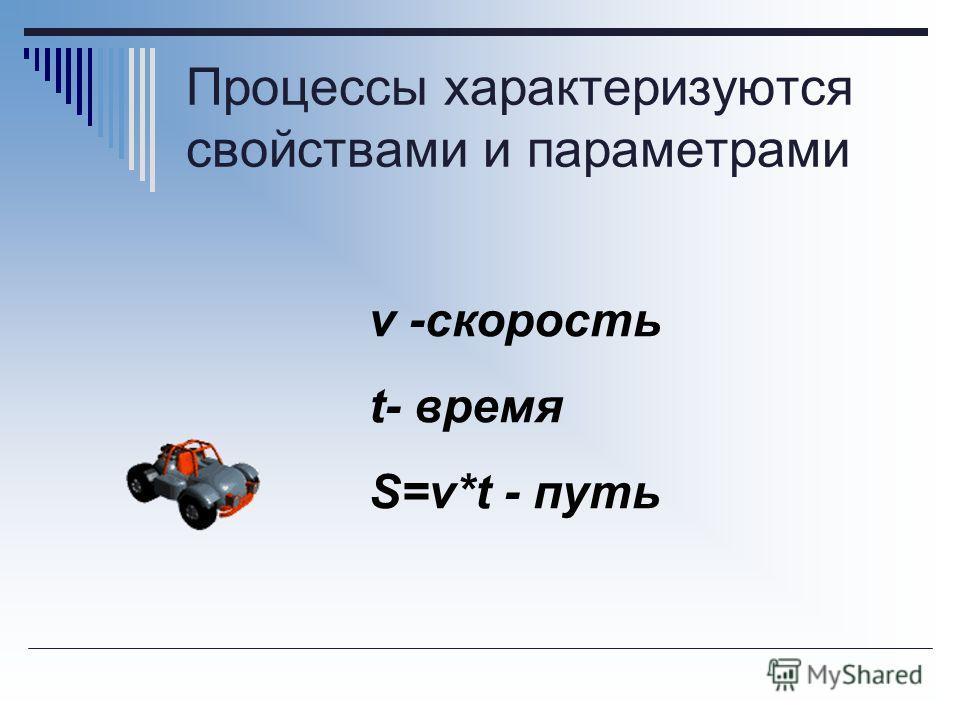 Процессы характеризуются свойствами и параметрами v -скорость t- время S=v*t - путь
