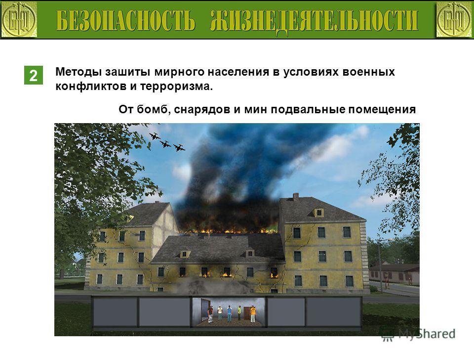 2 Методы зашиты мирного населения в условиях военных конфликтов и терроризма. От бомб, снарядов и мин подвальные помещения