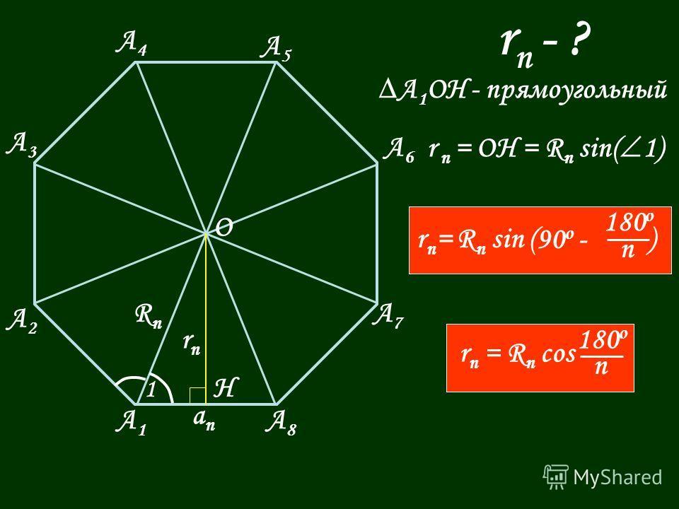 А1А1 А8А8 А7А7 А6А6 А5А5 А4А4 А3А3 А2А2 О Н аnаn rnrn 1 RnRn r n - ? A 1 OH - прямоугольный r n = OH = R n sin( 1) r n = R n sin ( ) 90 o - 180 o n r n = R n cos 180 o n