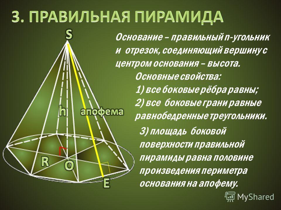 Основание – правильный n-угольник и отрезок, соединяющий вершину с центром основания – высота. Основные свойства: 1) все боковые рёбра равны; 2) все боковые грани равные равнобедренные треугольники. 3) площадь боковой поверхности правильной пирамиды