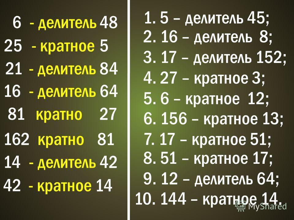 6 - делитель 48 25- кратное 5 21- делитель 84 16- делитель 64 81кратно 27 162кратно 81 14- делитель 42 - кратное 14 1. 5 – делитель 45; 2. 16 – делитель 8; 3. 17 – делитель 152; 4. 27 – кратное 3; 5. 6 – кратное 12; 6. 156 – кратное 13; 7. 17 – кратн