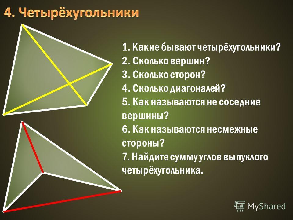 1. Какие бывают четырёхугольники? 2. Сколько вершин? 3. Сколько сторон? 4. Сколько диагоналей? 5. Как называются не соседние вершины? 6. Как называются несмежные стороны? 7. Найдите сумму углов выпуклого четырёхугольника.