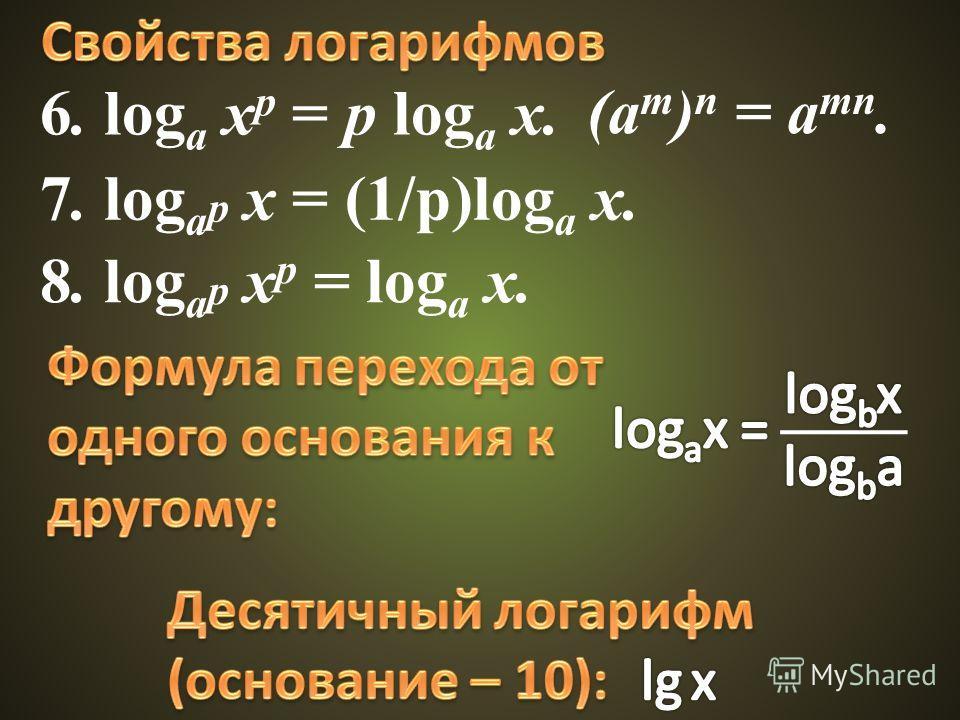 6. log a x p = p log a x. (a m ) n = a mn. 8. log a p x p = log a x. 7. log a p x = (1/p)log a x.