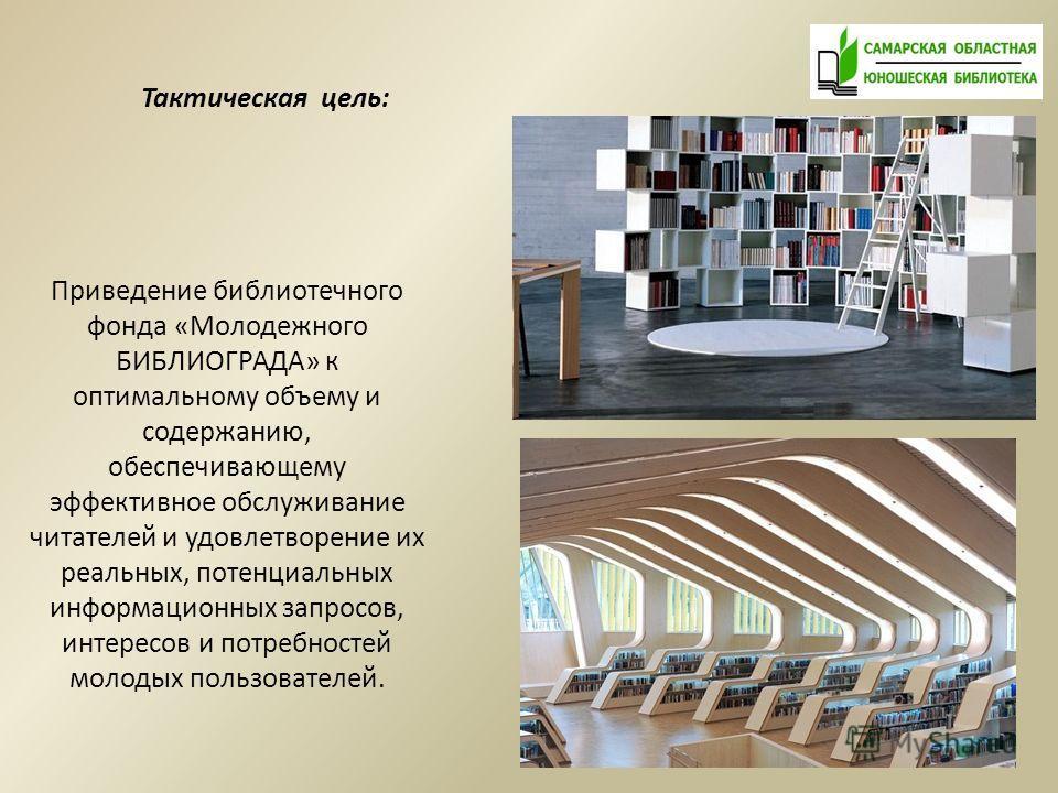 Приведение библиотечного фонда «Молодежного БИБЛИОГРАДА» к оптимальному объему и содержанию, обеспечивающему эффективное обслуживание читателей и удовлетворение их реальных, потенциальных информационных запросов, интересов и потребностей молодых поль