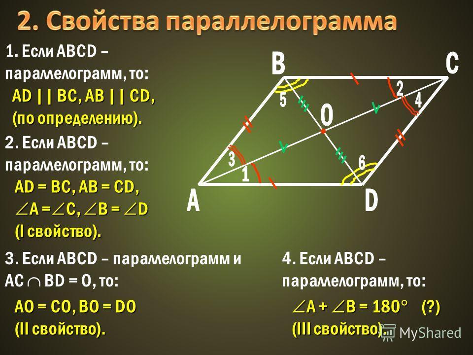 AD || BC, AB || CD, (по определению). 1. Если ABCD – параллелограмм, то: AО = СО, BО = DО (II свойство). 3. Если ABCD – параллелограмм и AC BD = O, то: AD = BC, AB = CD, A = C, B = D (I свойство). 2. Если ABCD – параллелограмм, то: A + B = 180 (?) A