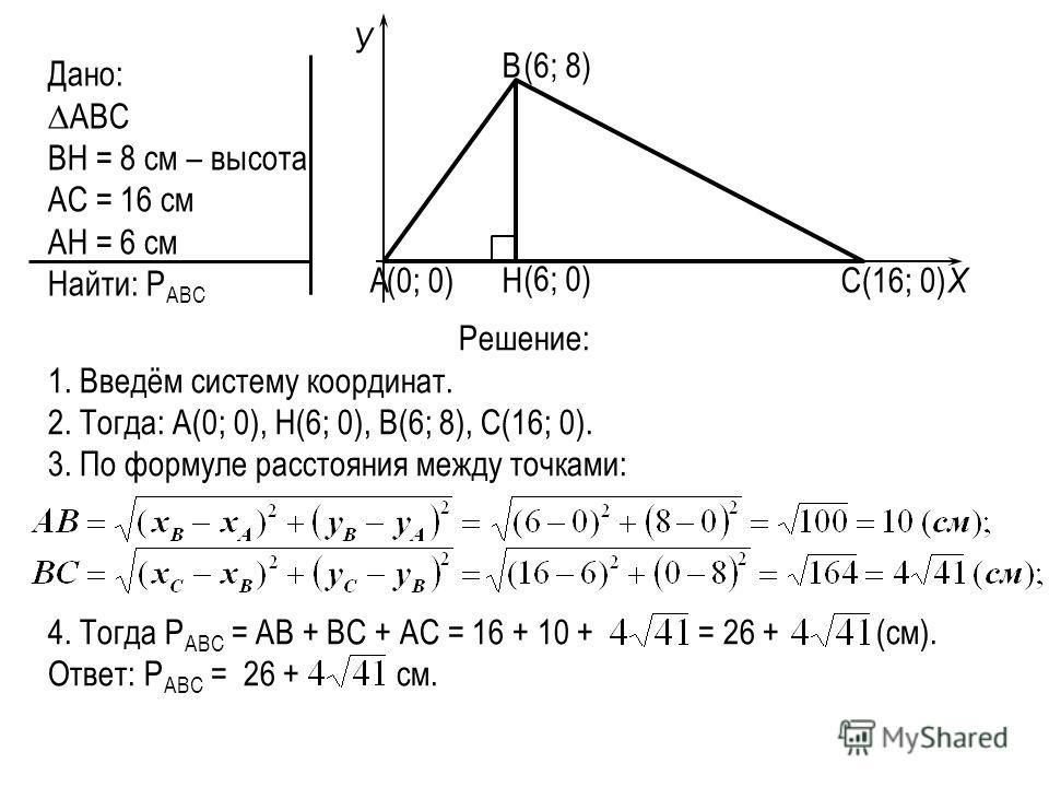 Дано: АВС ВН = 8 см – высота АС = 16 см АН = 6 см Найти: Р АВС В АСН Решение: 1. Введём систему координат. 2. Тогда: А(0; 0), Н(6; 0), В(6; 8), С(16; 0). 3. По формуле расстояния между точками: 4. Тогда Р АВС = АВ + ВС + АС = 16 + 10 + = 26 + (см). О