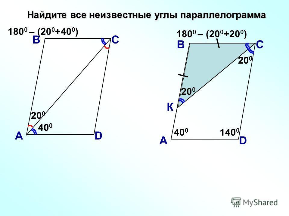 20 0 Найдите все неизвестные углы параллелограмма В А С D 40 0 20 0 180 0 – (20 0 +40 0 ) В А С D К 20 0 180 0 – (20 0 +20 0 ) 40 0 140 0