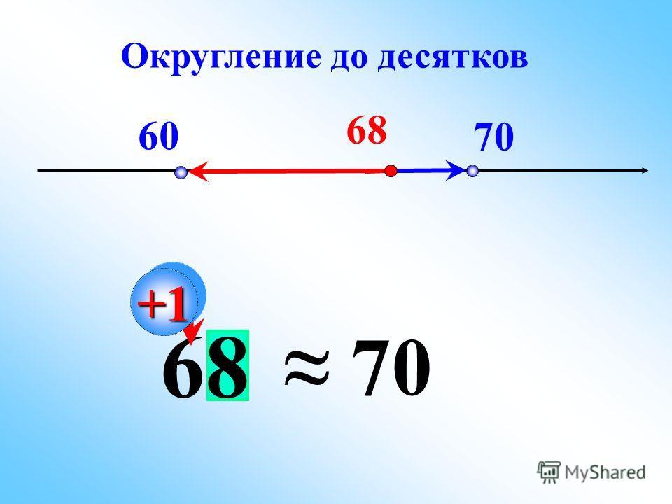 60 70 68 70 +1+1 Округление до десятков