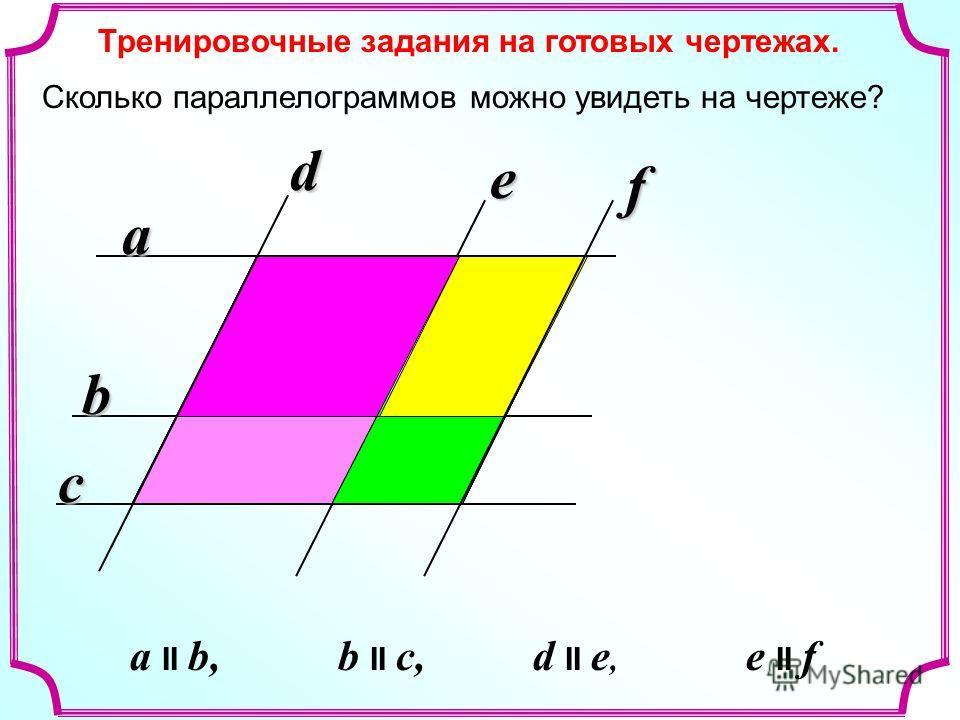 a b c d e f Сколько параллелограммов можно увидеть на чертеже? a II b, b II c, d II e, e II f Тренировочные задания на готовых чертежах.