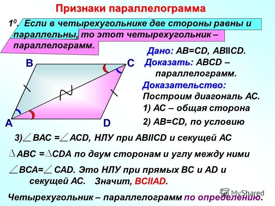 1 0. Если в четырехугольнике две стороны равны и параллельны, то этот четырехугольник – параллелограмм. Признаки параллелограмма Дано: Дано: АВ=СD, АВIICD. В А С D 1) АС – общая сторона Доказательство: Построим диагональ АС. 2) АВ=СD, по условию 3) В