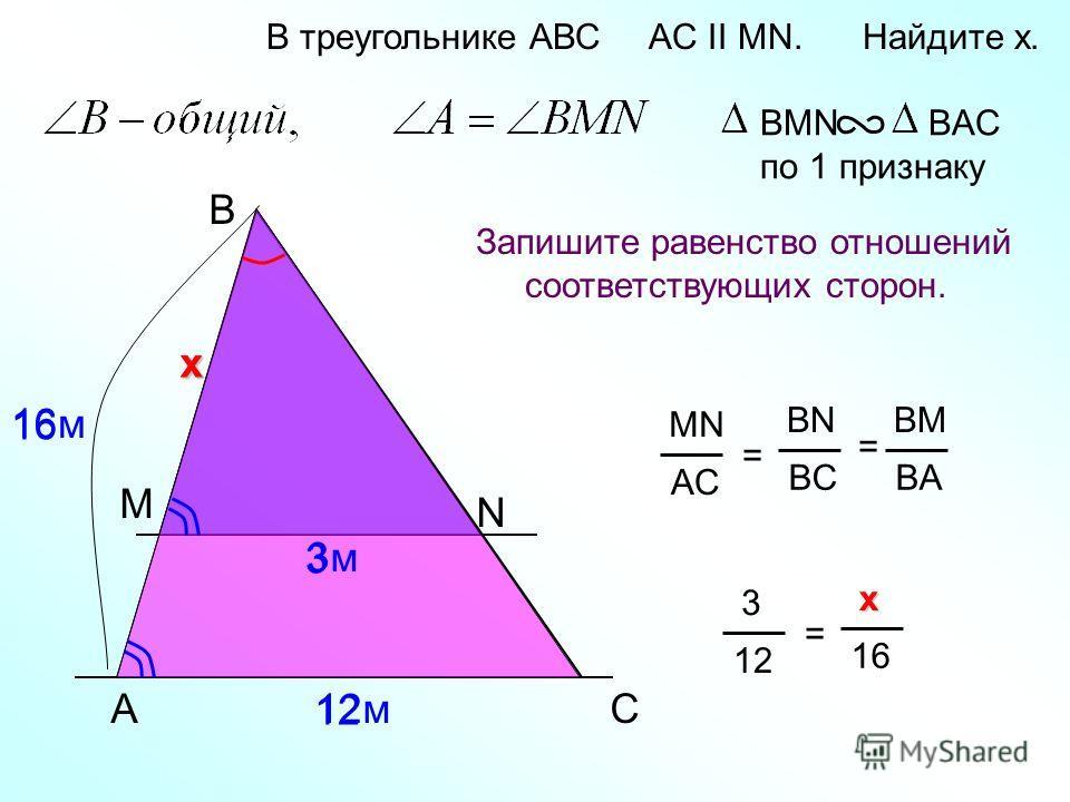 A B N В треугольнике АВС AC II MN. Найдите x. Запишите равенство отношений соответствующих сторон. BMN BAC по 1 признаку C MN AC = BN BC BM BA = М 12м 3м3м х 16м 1616 х 3 12 3 = x xx x 16