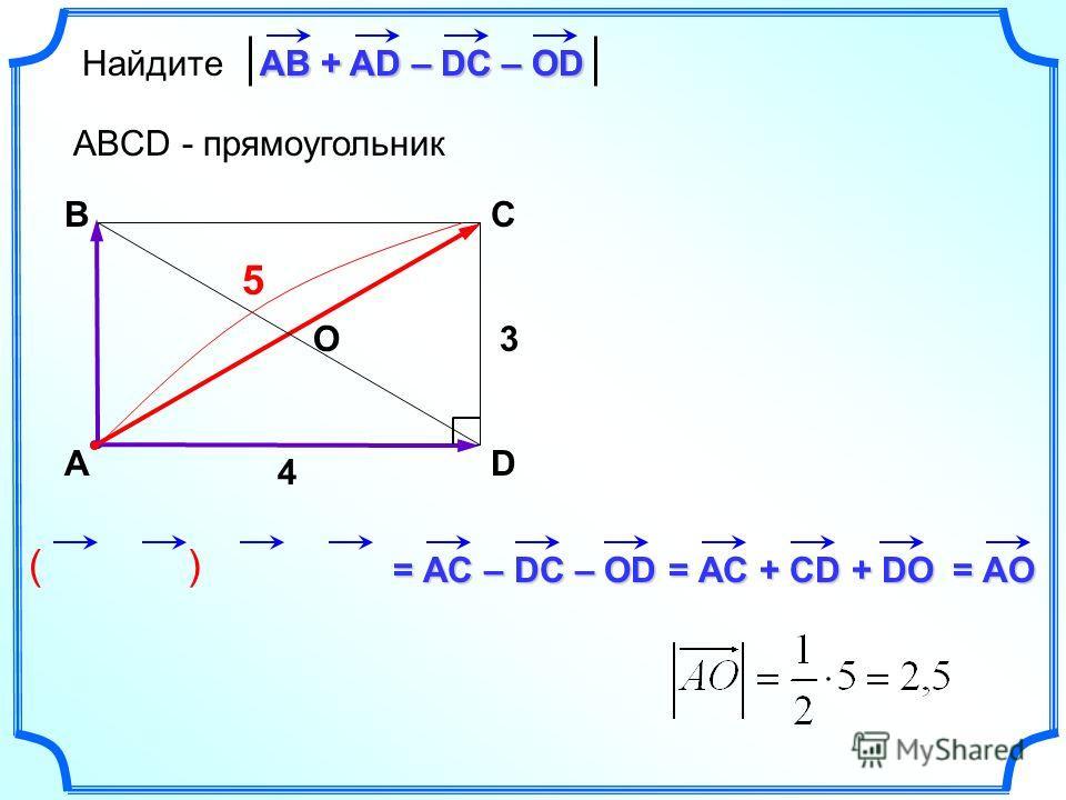 ( ) Найдите АВ + AD – DC – OD ABCD - прямоугольник А BC D АВ + AD – DC – OD = АС – DC – OD = АС + CD + DO = АО О3 4 5