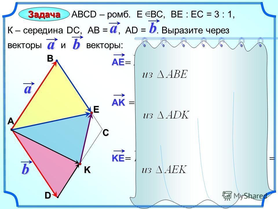 Задача АВСD – ромб. Е ВС, ВЕ : ЕС = 3 : 1, К – середина DC, АВ =, AD =. Выразите через векторы и векторы: С А Вab aD b a b E K AE AK KE