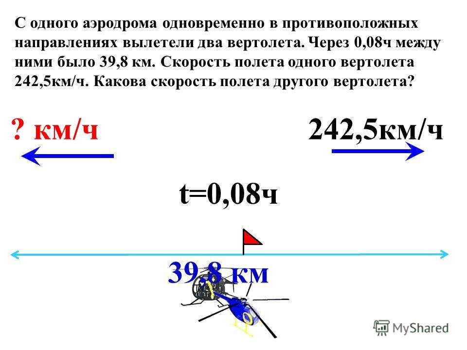 t=0,08ч 39,8 км 242,5км/ч? км/ч С одного аэродрома одновременно в противоположных направлениях вылетели два вертолета. Через 0,08ч между ними было 39,8 км. Скорость полета одного вертолета 242,5км/ч. Какова скорость полета другого вертолета?