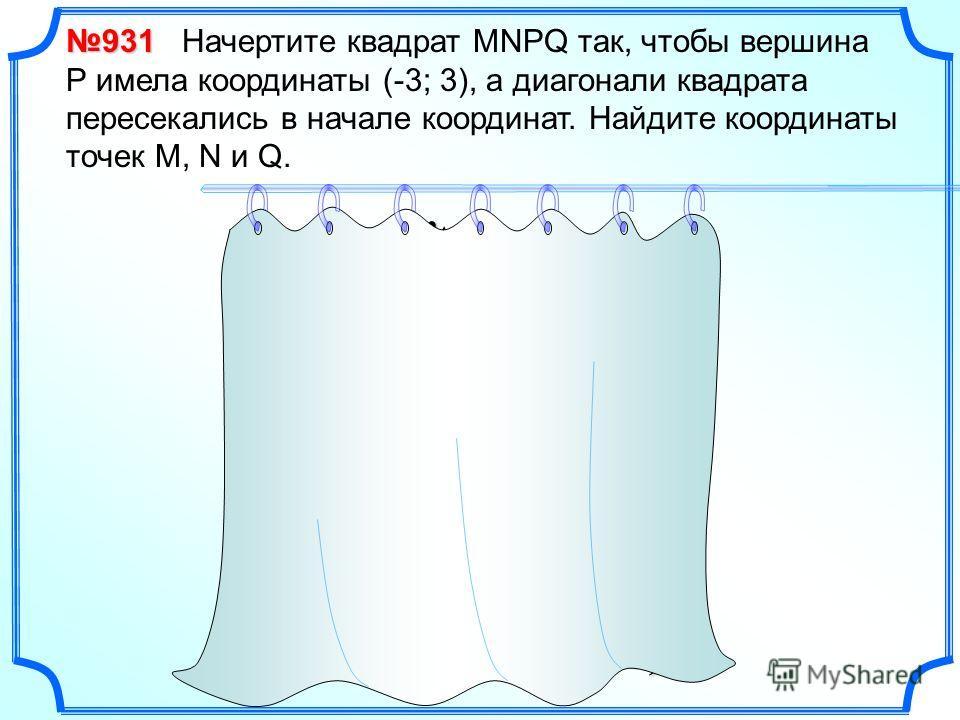 931 931 Начертите квадрат MNPQ так, чтобы вершина Р имела координаты (-3; 3), а диагонали квадрата пересекались в начале координат. Найдите координаты точек M, N и Q. x y O P(-3;3)(3;3) M(3;-3) N Q (-3;-3)
