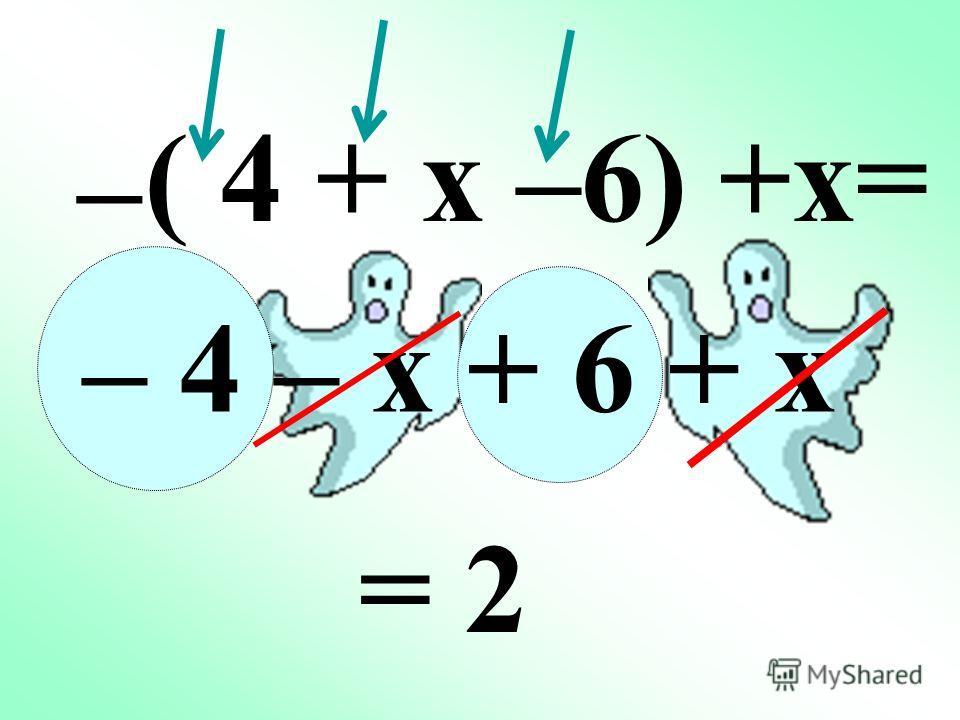 – Если перед скобками стоит знак «–», то при раскрытии скобок знаки слагаемых в скобках заменяются на противоположные. – ( + 2x + 3f – m –h ) –( 2x+3f–m–h) – ++ = +