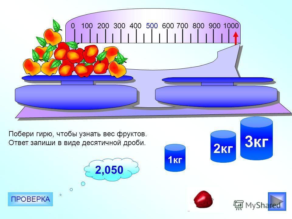 0 100 200 300 400 500 600 700 800 900 1000 2кг 3кг 1кг Побери гирю, чтобы узнать вес фруктов. Ответ запиши в виде десятичной дроби. ПРОВЕРКА 2,050