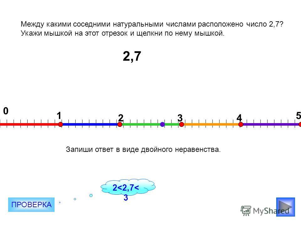 2,7 0 1 234 5 Между какими соседними натуральными числами расположено число 2,7? Укажи мышкой на этот отрезок и щелкни по нему мышкой. Запиши ответ в виде двойного неравенства. ПРОВЕРКА 2