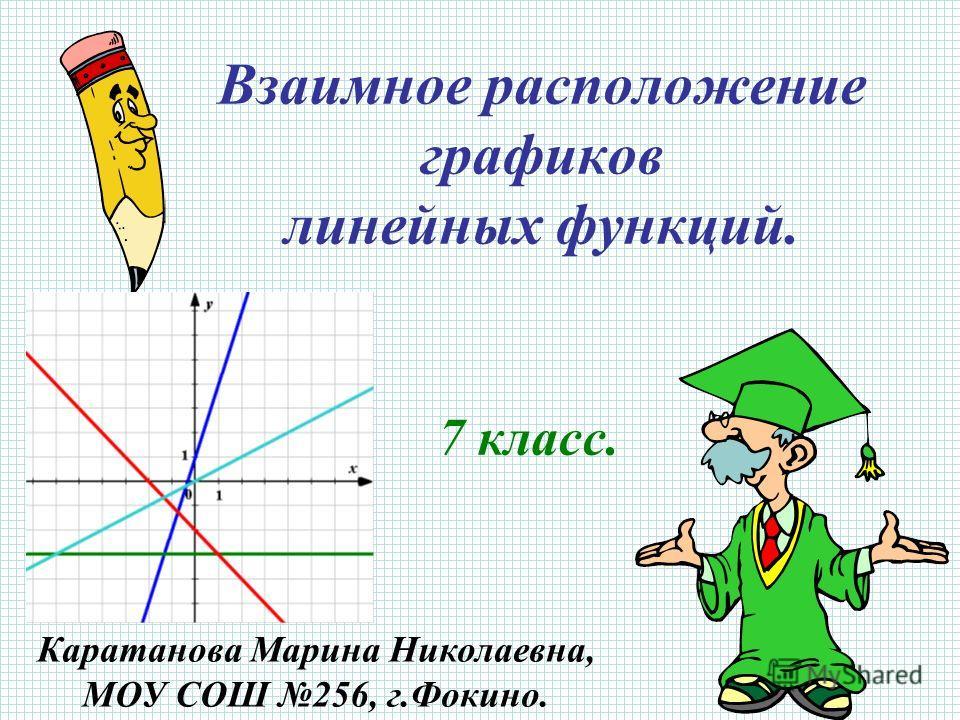 Взаимное расположение графиков линейных функций. 7 класс. Каратанова Марина Николаевна, МОУ СОШ 256, г.Фокино.