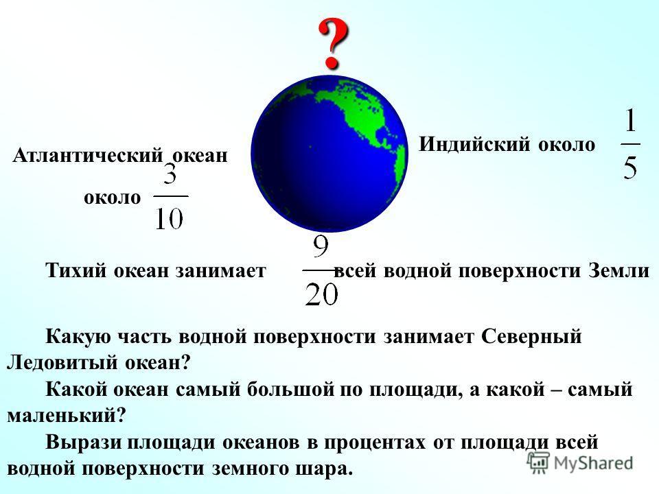 Тихий океан занимает всей водной поверхности Земли Какую часть водной поверхности занимает Северный Ледовитый океан? Какой океан самый большой по площади, а какой – самый маленький? Вырази площади океанов в процентах от площади всей водной поверхност