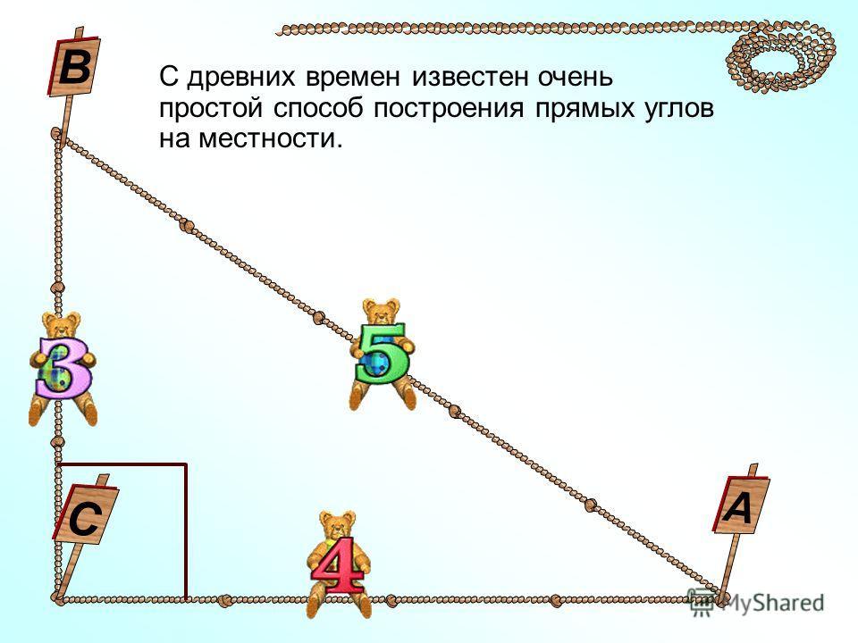 С древних времен известен очень простой способ построения прямых углов на местности. С В А