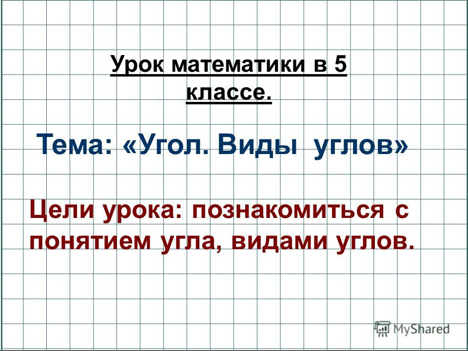 Тема: «Угол. Виды углов» Цели урока: познакомиться с понятием угла, видами углов. Урок математики в 5 классе.
