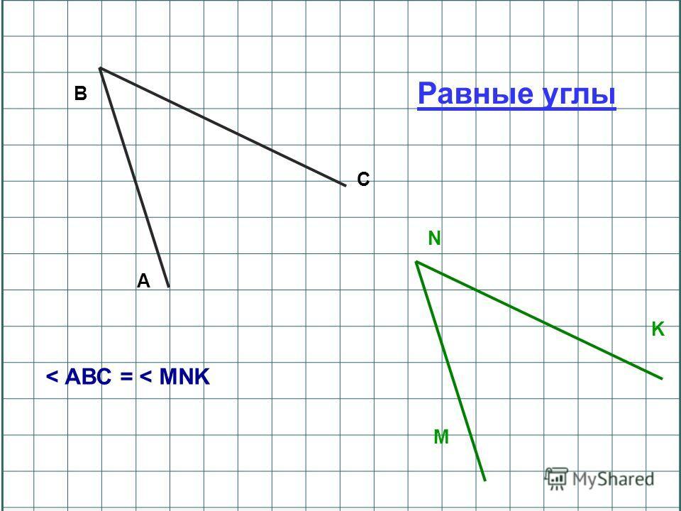 B C A N K M Равные углы < АВС = < MNK