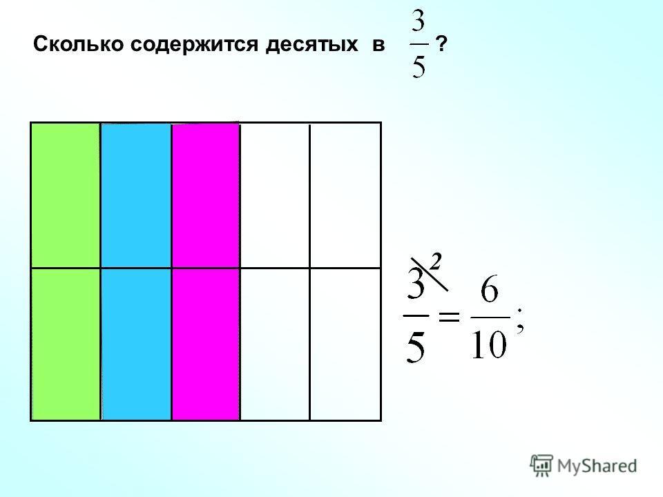 Сколько содержится десятых в ? 2