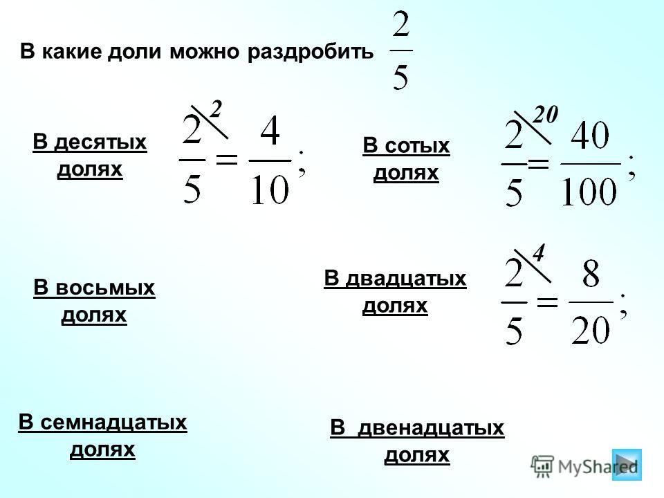 В какие доли можно раздробить В десятых долях В семнадцатых долях 2 В сотых долях 20 В двадцатых долях 4 В двенадцатых долях В восьмых долях