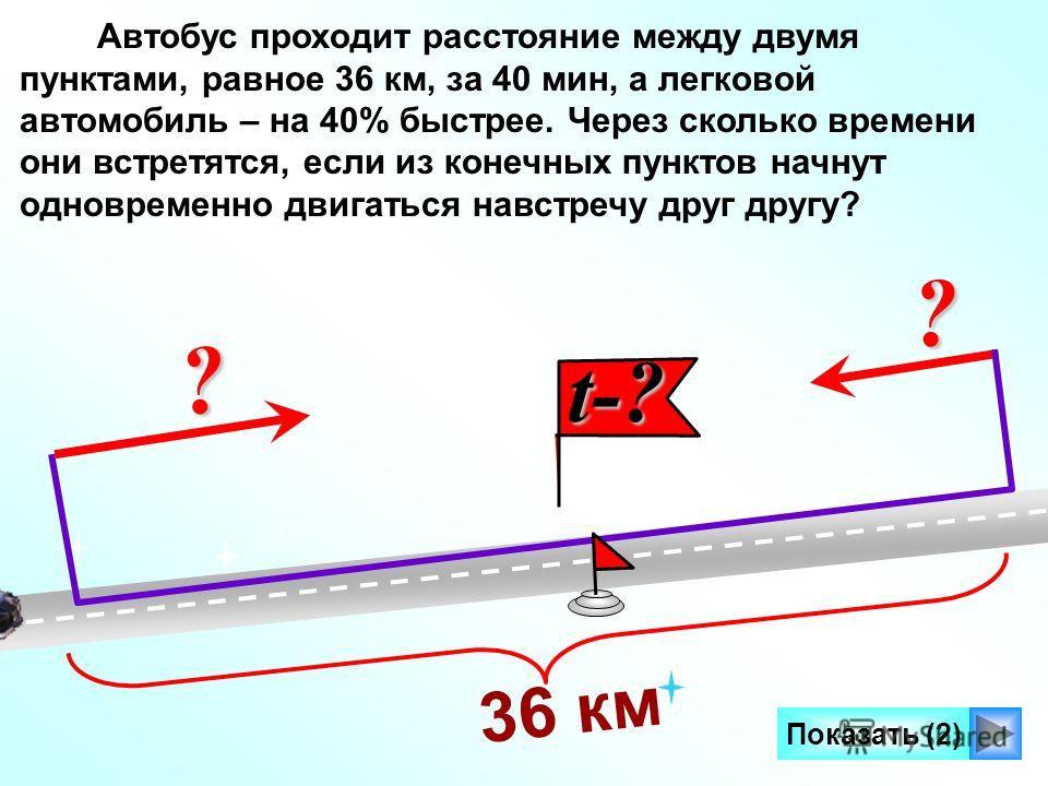 t-? t-? Автобус проходит расстояние между двумя пунктами, равное 36 км, за 40 мин, а легковой автомобиль – на 40% быстрее. Через сколько времени они встретятся, если из конечных пунктов начнут одновременно двигаться навстречу друг другу? Показать (2)