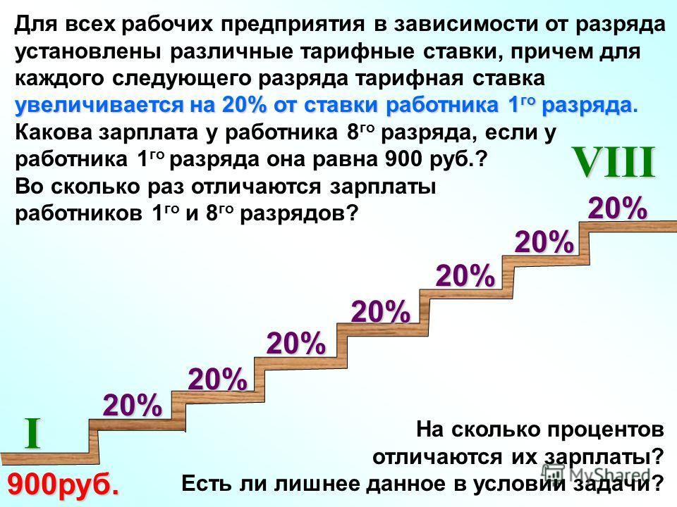На сколько процентов отличаются их зарплаты? Есть ли лишнее данное в условии задачи? увеличивается на 20% от ставки работника 1 го разряда Для всех рабочих предприятия в зависимости от разряда установлены различные тарифные ставки, причем для каждого