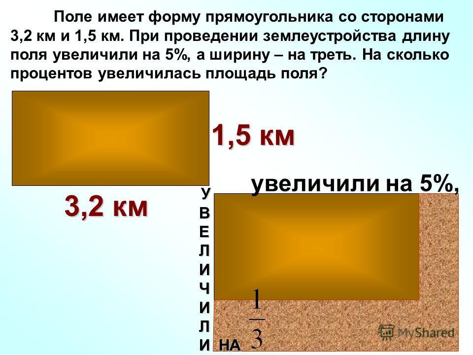 Поле имеет форму прямоугольника со сторонами 3,2 км и 1,5 км. При проведении землеустройства длину поля увеличили на 5%, а ширину – на треть. На сколько процентов увеличилась площадь поля? 3,2 км 1,5 км увеличили на 5%, У В Е Л И Ч И Л И НА И НА