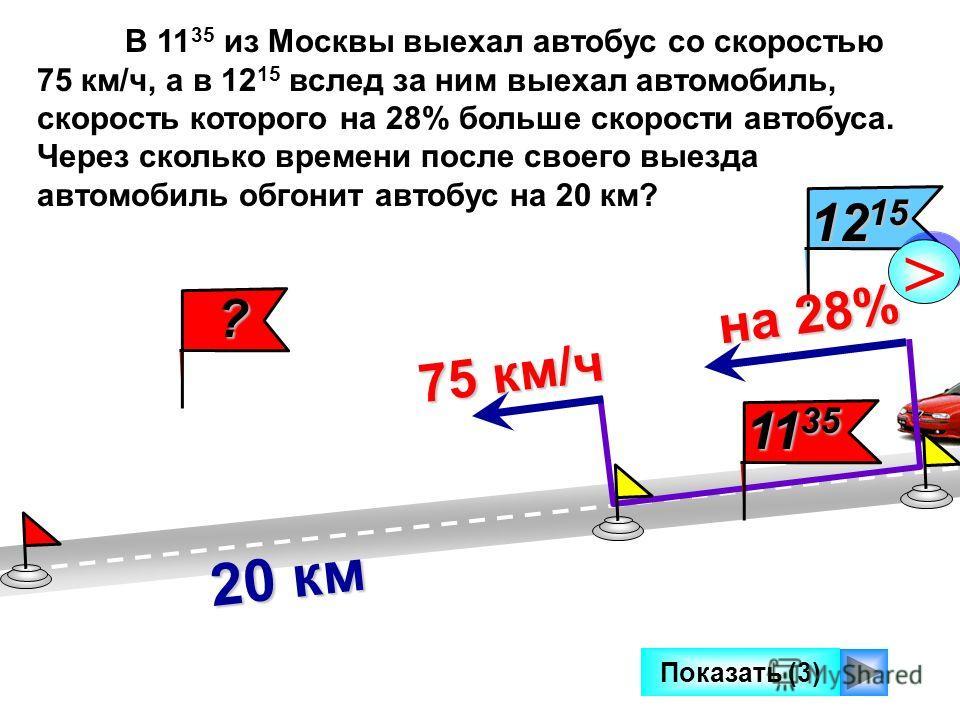 12 15 Показать (3) 20 км на 28% на 28% > > ? В 11 35 из Москвы выехал автобус со скоростью 75 км/ч, а в 12 15 вслед за ним выехал автомобиль, скорость которого на 28% больше скорости автобуса. Через сколько времени после своего выезда автомобиль обго