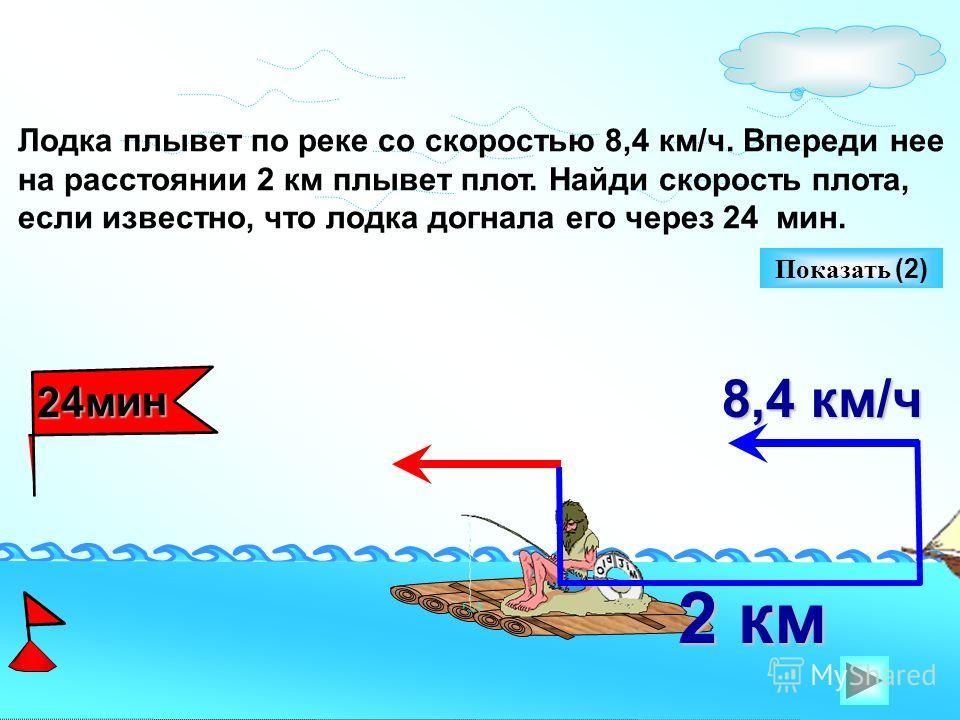 8,4 км/ч 24мин Показать (2) Лодка плывет по реке со скоростью 8,4 км/ч. Впереди нее на расстоянии 2 км плывет плот. Найди скорость плота, если известно, что лодка догнала его через 24 мин. 2 км 2 км