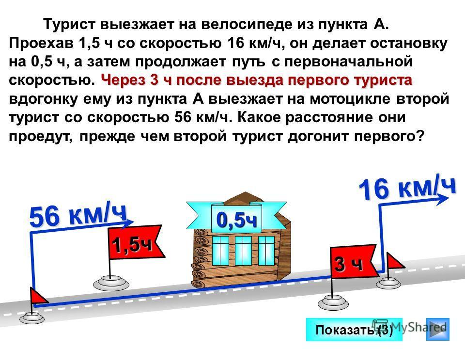 Через 3 ч после выезда первого туриста Турист выезжает на велосипеде из пункта А. Проехав 1,5 ч со скоростью 16 км/ч, он делает остановку на 0,5 ч, а затем продолжает путь с первоначальной скоростью. Через 3 ч после выезда первого туриста вдогонку ем